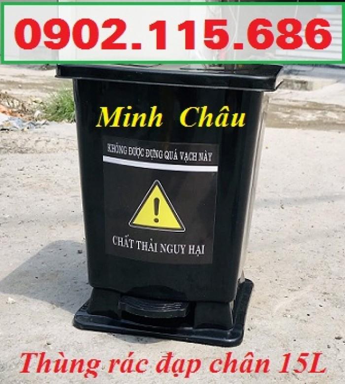 Thùng rác y tế 15 lít, thùng rác đạp chân 15 lít, thùng phân loại rác y tế 15 lít,5