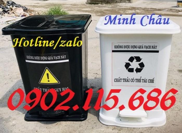 Thùng rác y tế 15 lít, thùng rác đạp chân 15 lít, thùng phân loại rác y tế 15 lít,1