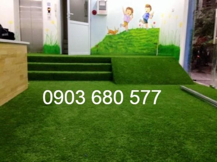 Chuyên nhận thi công cỏ nhân tạo trang trí cho trường mầm non, sân bóng, sân chơi7