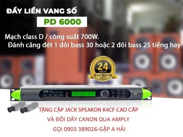 Cục đẩy liền vang số Kiwi PD6000 Thiết kế mạch ClassD có công suất như một cục đẩy 2 kênh, cho công suất 700W/ 8Ω, 900W/ 4 Ω.3