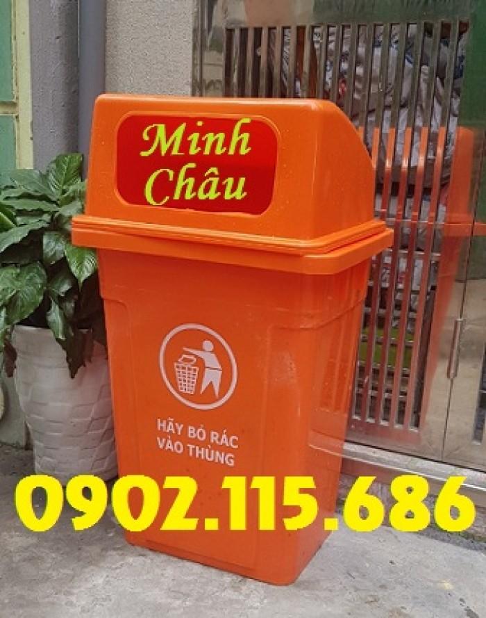 Thùng rác công cộng 90L, thùng rác nhựa 90L nắp hở, thùng rác 90L nắp hở, thùng rác nhựa HDPE 90L,5