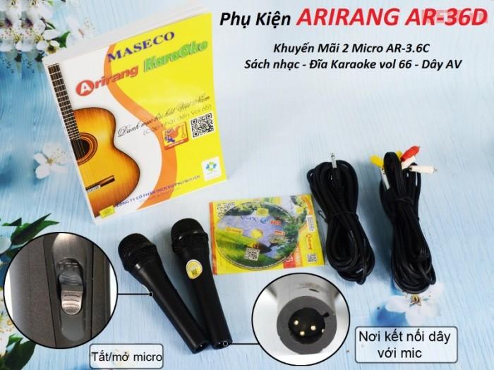 Đầu Arirang karaoke 5 số AR-36D Phụ kiện bao gồm: Điều khiển từ xa, Đĩa Vol 66 mới  nhất, Dây AV, Danh mục bài hát Tiếng Việt, Sách hướng dẫn sử dụng. Khuyến mãi 2 Micro Arirang AR-3.6C Chính hãng3