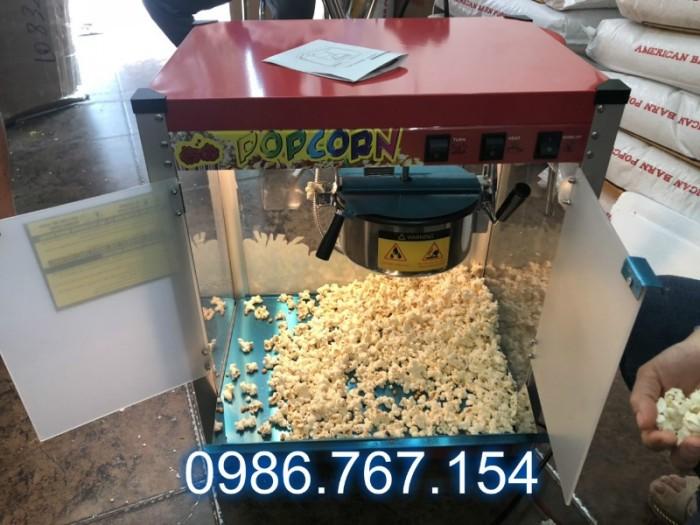 Máy nổ bắp rang bơ chạy điện dòng tủ kính0
