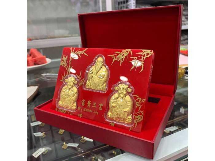 Bộ 3 ông Phúc Lộc Thọ dát vàng 24k0