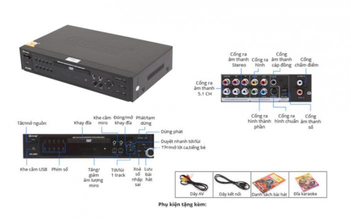 Đầu Karaoke 5 số Arirang AR-36NR Phụ kiện bao gồm: Điều khiển từ xa, Đĩa Vol 66 mới  nhất, Dây AV, Danh mục bài hát Tiếng Việt, Sách hướng dẫn sử dụng. Khuyến mãi 2 Micro Arirang AR-3.6C Chính hãng0