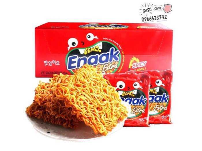 Hộp 24 gói mì trẻ em enaak indonesia (28gram/ đỏ)0