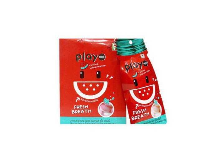 Hộp 12 gói kẹo play more thái lan (12gram) - vị dưa hấu1