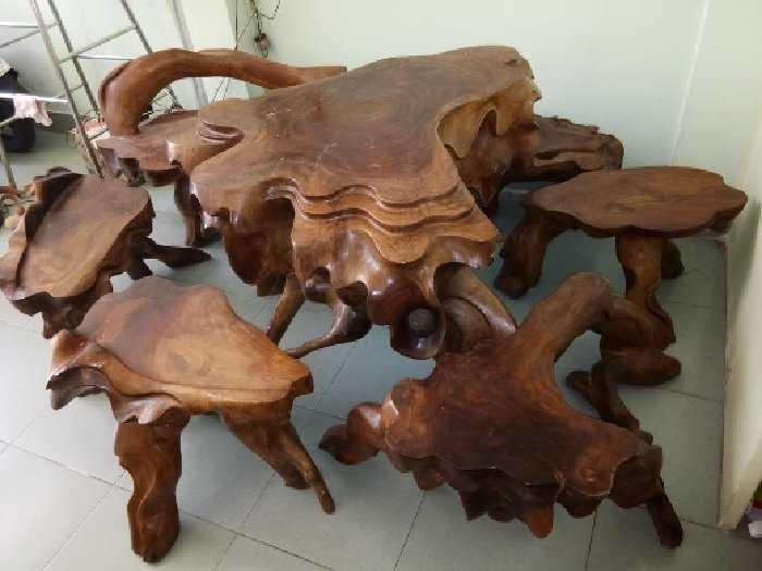 Thanh lí bộ bàn ghế gỗ xà cừ đỏ0