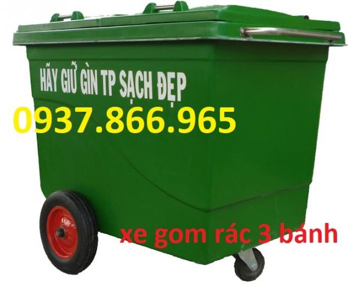 Xe gom rác nhựa 660L 3 bánh xe, 4 bánh xe thuận tiện di chuyển2