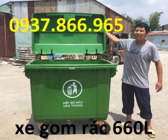Xe gom rác nhựa 660L 3 bánh xe, 4 bánh xe thuận tiện di chuyển0