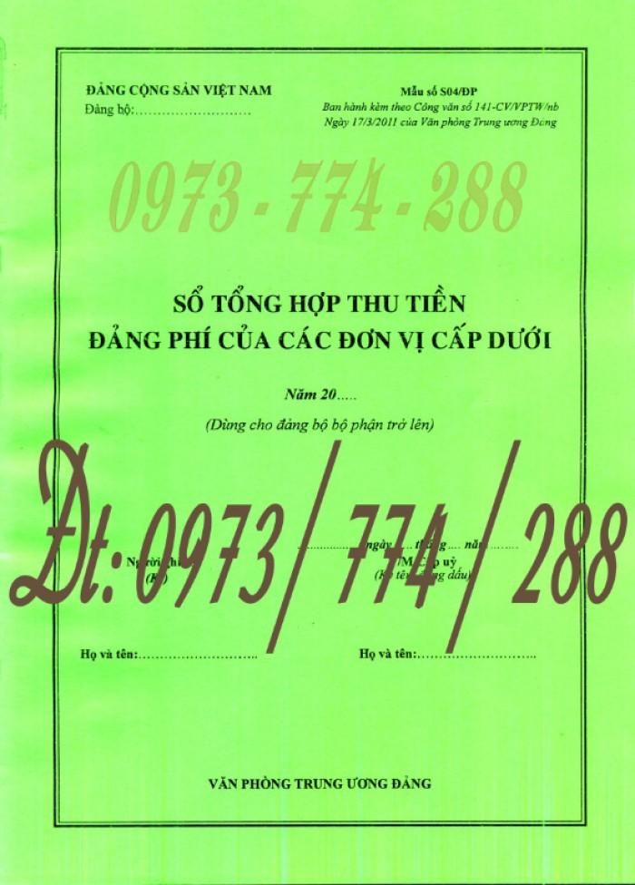 Quyển sổ tổng hợp thu tiền Đảng phí của các đơn vị cấp dưới (Mẫu số S04/ĐP)0