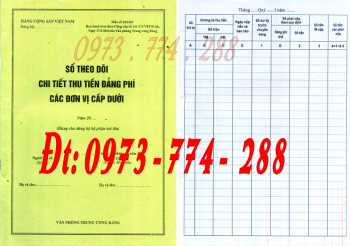 Đảng Cộng Sản Việt Nam - Sổ theo dõi chi tiết thu tiền Đảng phí các đơn vị cấp dưới mẫu số s03/đp0