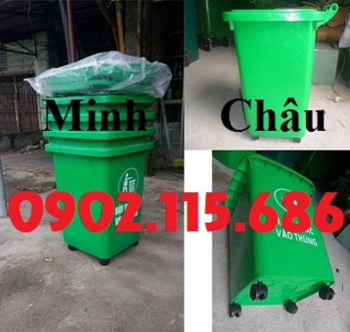 Thùng rác nhựa 60l, thùng rác 60l đạp chân, thùng rác 60l nắp lật, thùng rác 60l nắp kín,0