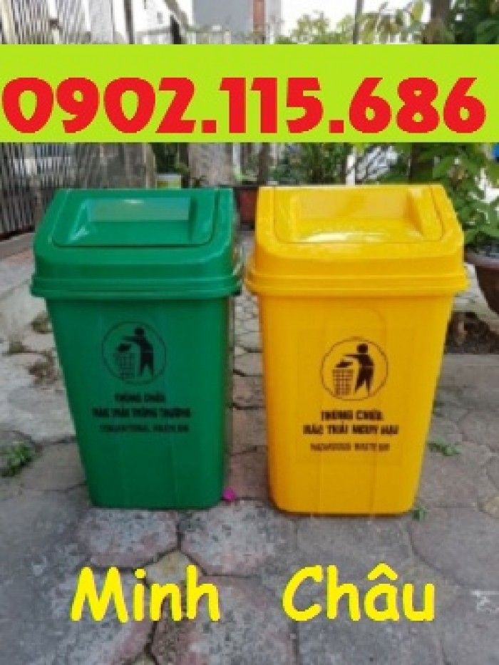 Thùng rác nhựa 60l, thùng rác 60l đạp chân, thùng rác 60l nắp lật, thùng rác 60l nắp kín,5