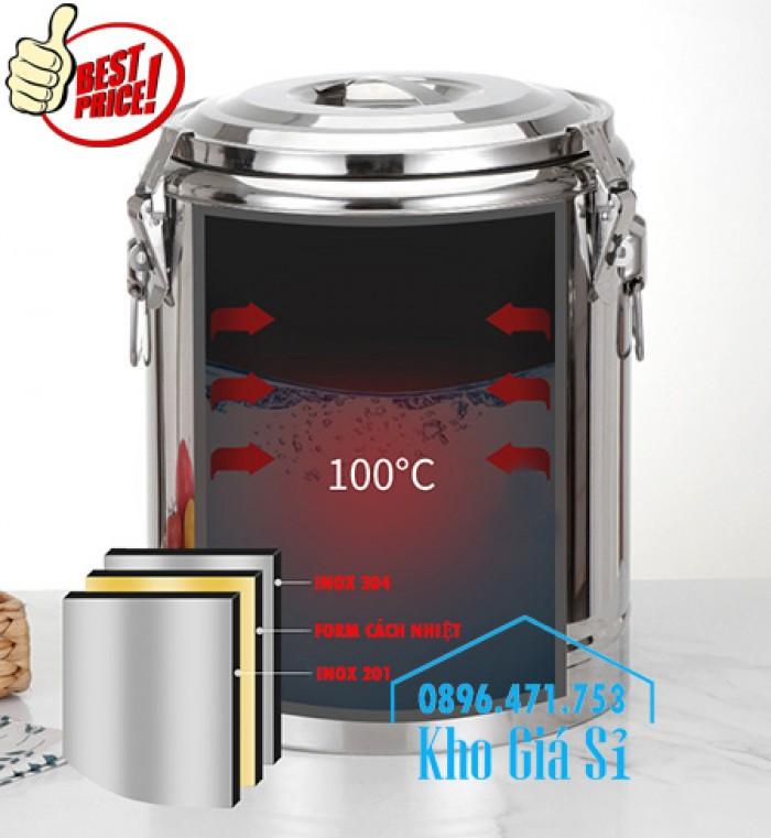 Nồi inox ủ cơm nóng, nồi inox cách nhiệt ủ nóng thức ăn tại Củ Chi8