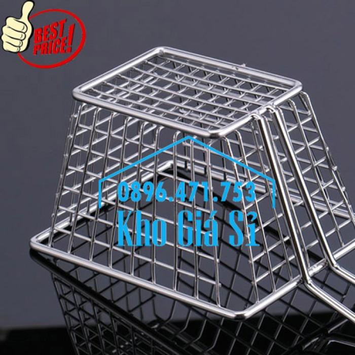 Sọt inox 304 mạ vàng hình vuông, hình tròn đựng khoai tây chiên, đồ chiên giòn phục vụ khách tại bàn – Quy Nhơn5