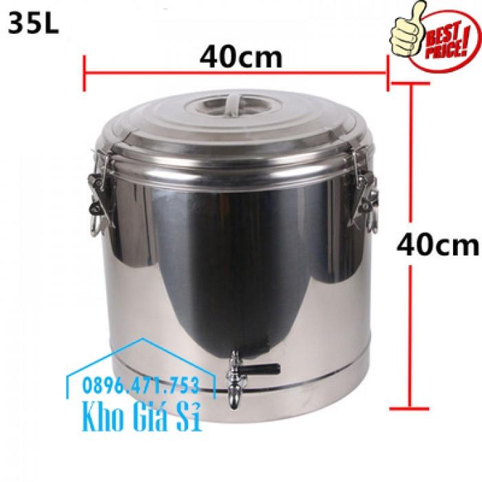 Giá rẻ - Thùng/ Nồi inox giữ nhiệt 2 lớp chuyên dùng vận chuyển nước lèo, nước phở Bình Phước