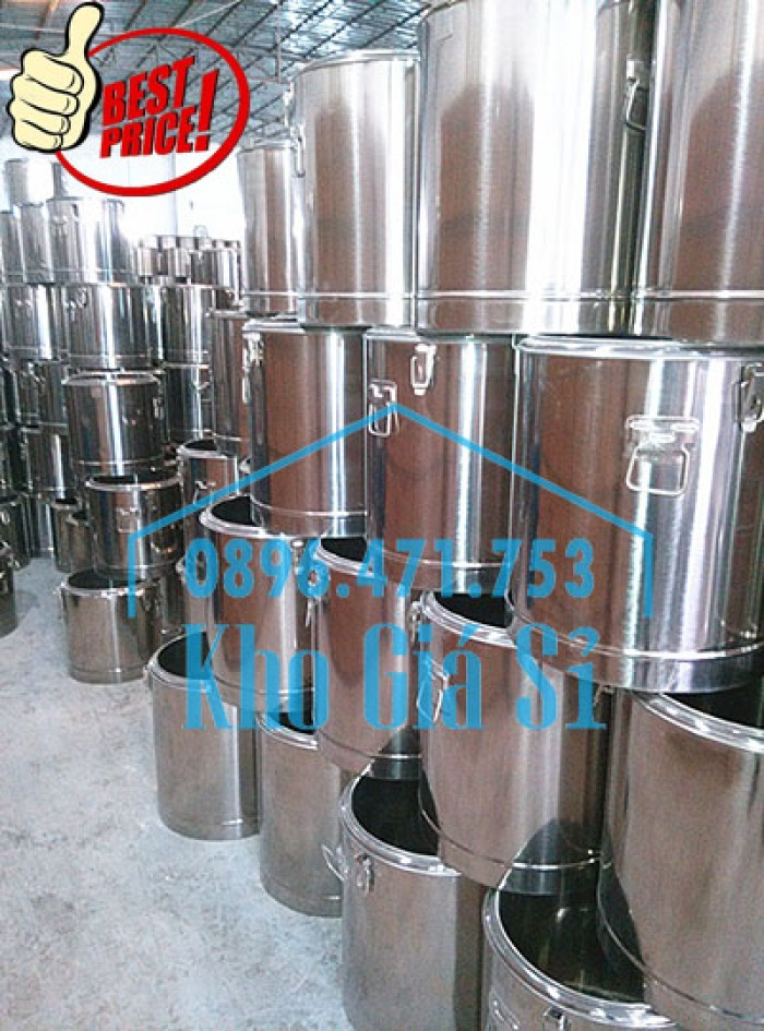Giá rẻ thùng/ nồi inox giữ nhiệt 2 lớp vận chuyển đồ ăn, vận chuyển nước lèo, nước phở tại Tân Bình