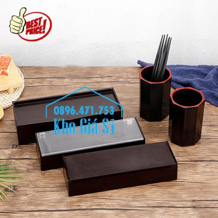 Hộp đựng muỗng đũa nhà hàng giá tốt tại Đà Nẵng - Hộp đũa Nhật Bản màu nâu, màu đen bằng nhựa melamine24