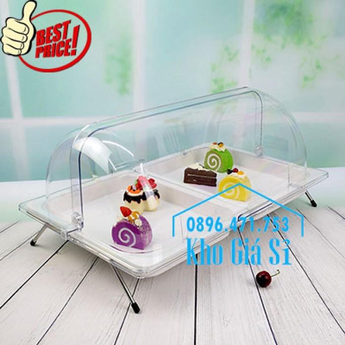 Khay trưng bày thức ăn buffet, trái cây, sashimi, bánh ngọt có nắp đậy bằng nhựa mica trong suốt mở 2 chiều - Bà Rịa Vũng Tàu10