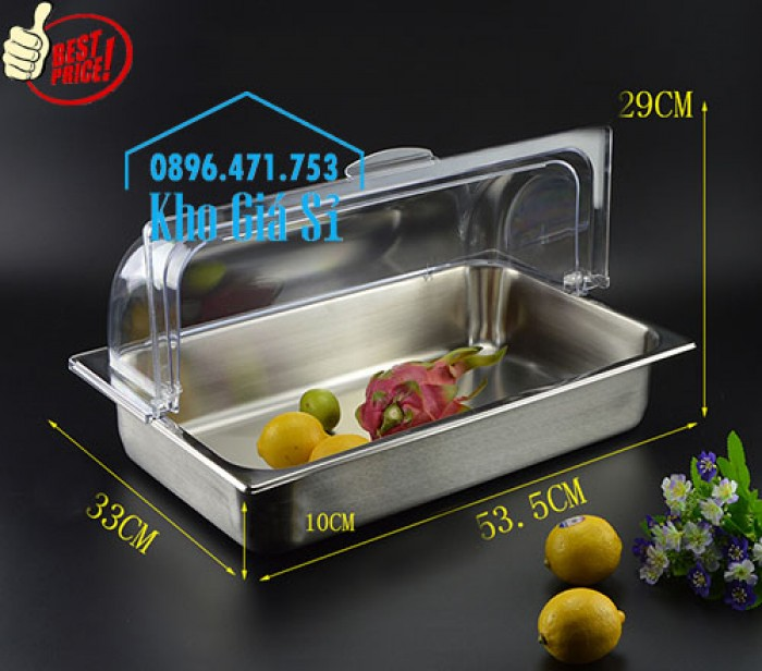 Khay trưng bày thức ăn buffet, trái cây, sashimi, bánh ngọt có nắp đậy bằng nhựa mica trong suốt mở 2 chiều - Bà Rịa Vũng Tàu1