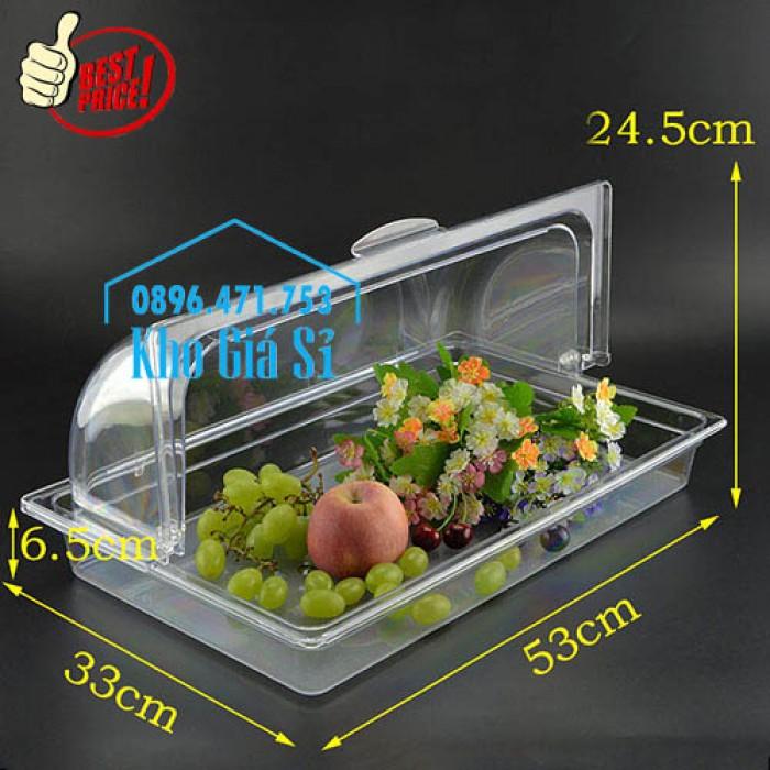 Khay trưng bày thức ăn buffet, trái cây, sashimi, bánh ngọt có nắp đậy bằng nhựa mica trong suốt mở 2 chiều - Bà Rịa Vũng Tàu8