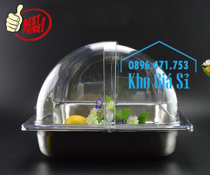 Khay đựng thức ăn buffet có nắp đậy bằng nhựa mica trong mở 2 chiều - Đà Nẵng3