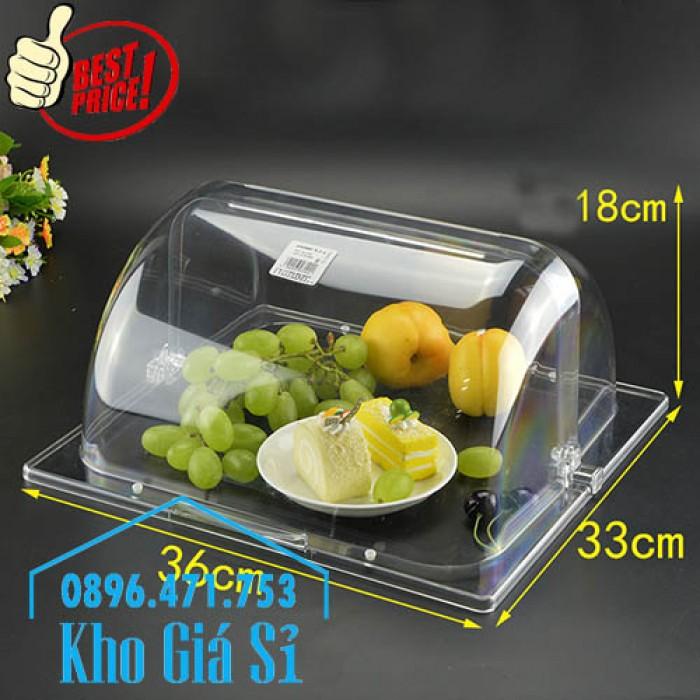 Khay đựng thức ăn buffet có nắp đậy bằng nhựa mica trong mở 2 chiều - Đà Nẵng4