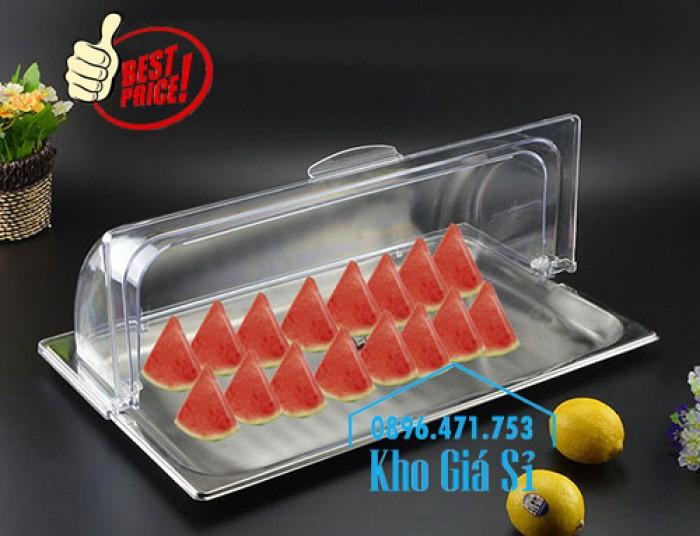 Khay đựng thức ăn buffet có nắp đậy bằng nhựa mica trong mở 2 chiều - Đà Nẵng0