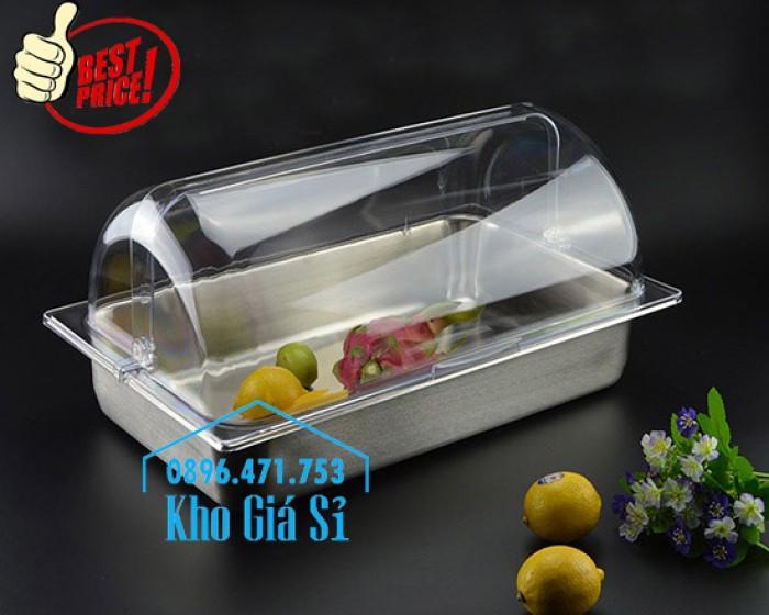 Khay đựng thức ăn buffet có nắp đậy bằng nhựa mica trong mở 2 chiều - Đà Nẵng2