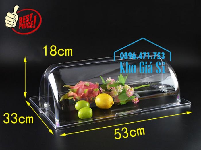Khay đựng thức ăn buffet có nắp đậy bằng nhựa mica trong mở 2 chiều - Đà Nẵng1