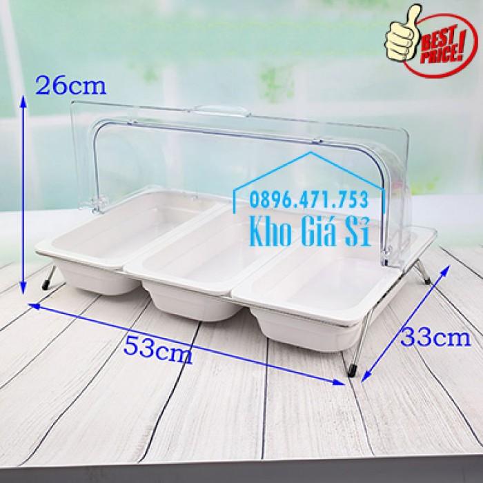Khay đựng thức ăn buffet có nắp đậy bằng nhựa mica trong mở 2 chiều - Đà Nẵng13