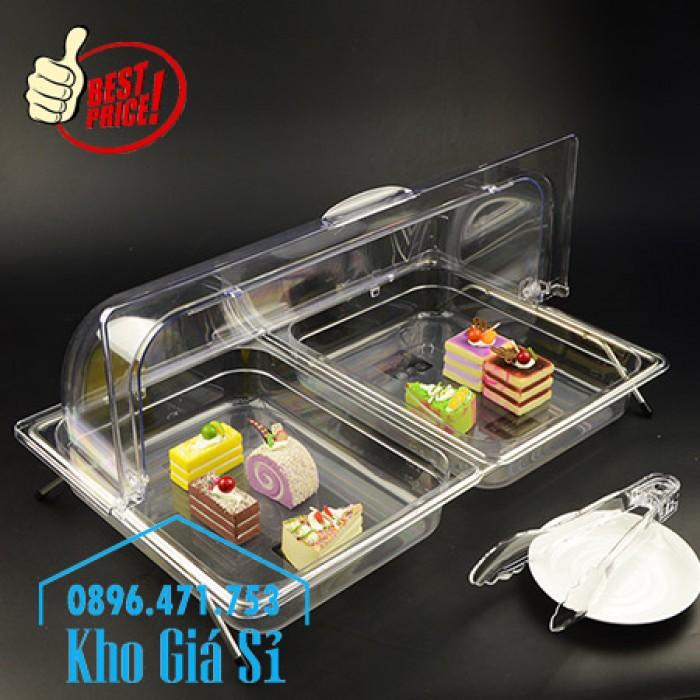 Khay đựng thức ăn trang trí tiệc buffet, đựng bánh ngọt có nắp đậy bằng nhựa mica trong suốt - Phú quốc