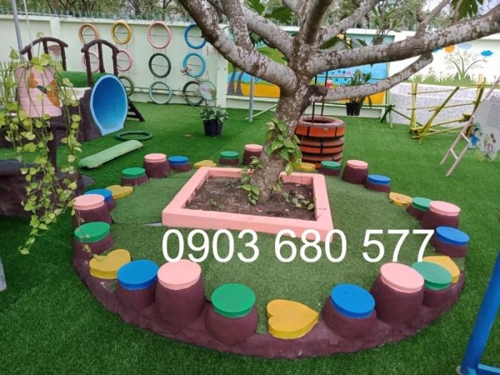 Cỏ nhân tạo an toàn trang trí sân chơi trẻ em, sân bóng đá, trường học mầm non15