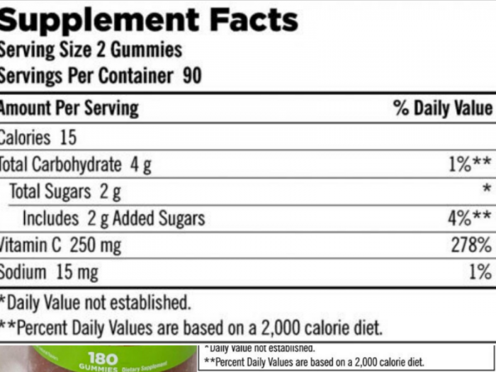 Kirkland adult Gummies C Thực phẩm bổ sung Vitamin C kẹo dẻo2