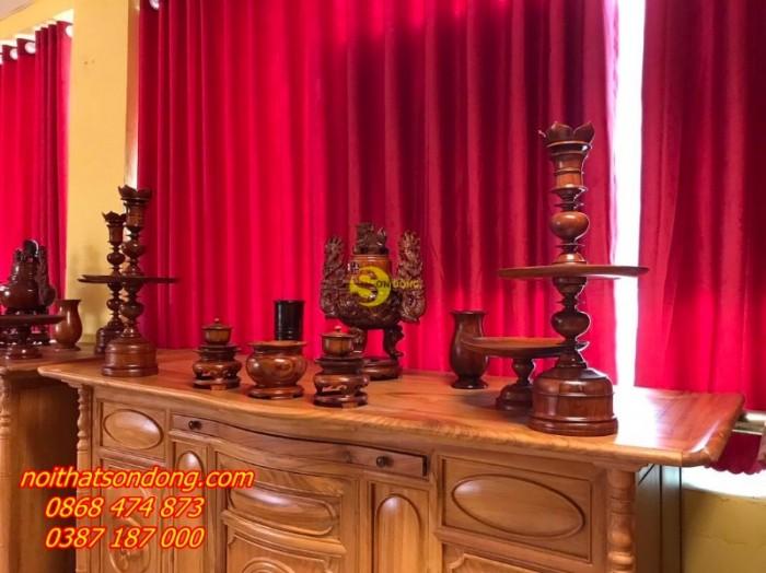 Bộ lư hương gỗ hương chạm 60cm0