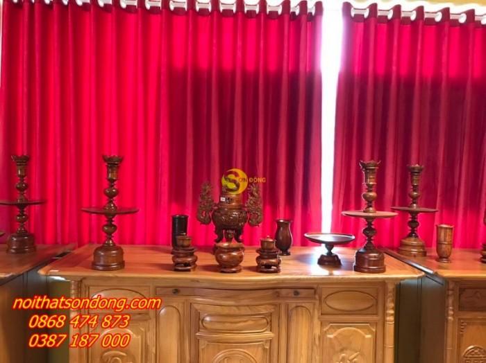 Bộ lư hương gỗ hương chạm 60cm4