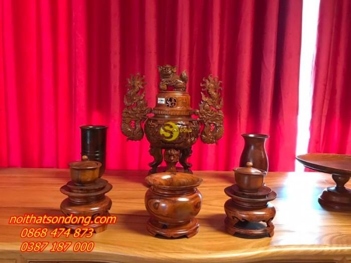 Bộ lư hương gỗ hương chạm 60cm2