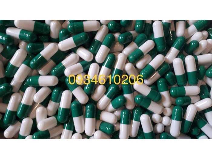 Viên capsule gelatin rỗng màu xanh trắng hàng có sẵn0