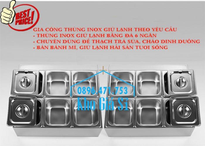 Thùng/Khung/Khay inox giữ lạnh đặt tại bàn bán trà sữa, cháo dinh dưỡng tại Đà Nẵng0