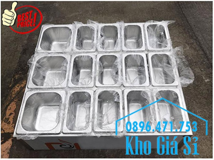 Thùng/Khung/Khay inox giữ lạnh đặt tại bàn bán trà sữa, cháo dinh dưỡng tại Đà Nẵng2