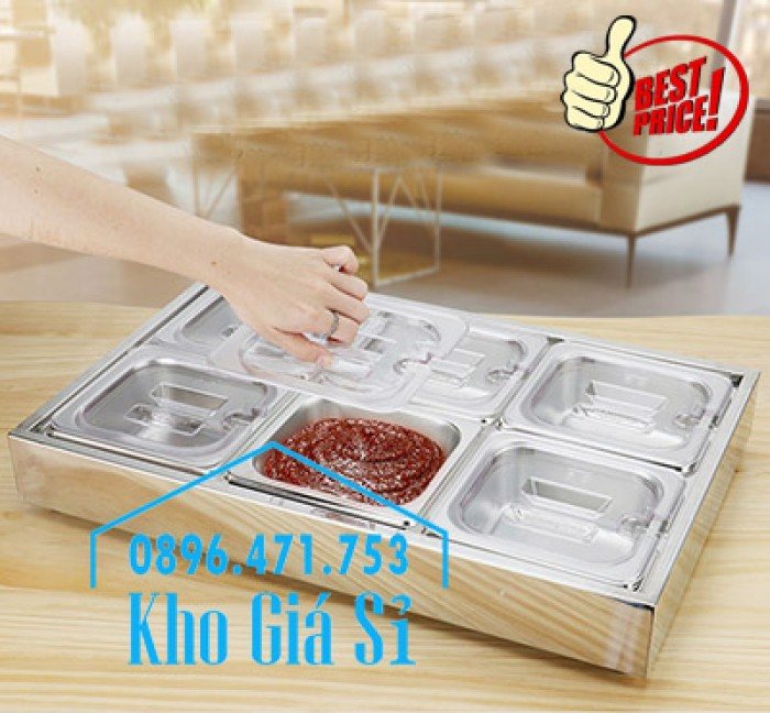 Thùng/Khung/Khay inox giữ lạnh đặt tại bàn bán trà sữa, cháo dinh dưỡng tại Đà Nẵng7