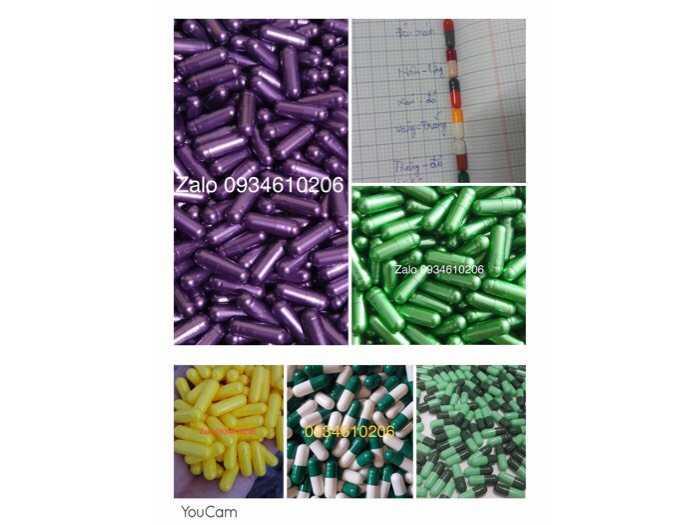 viên capsule gelatin rỗng các màu size 00