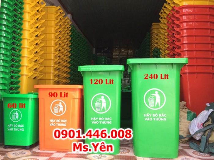 Thùng rác công cộng ngoài trời 120L, 240L nhựa HDPE giá rẻ nhất HCM1