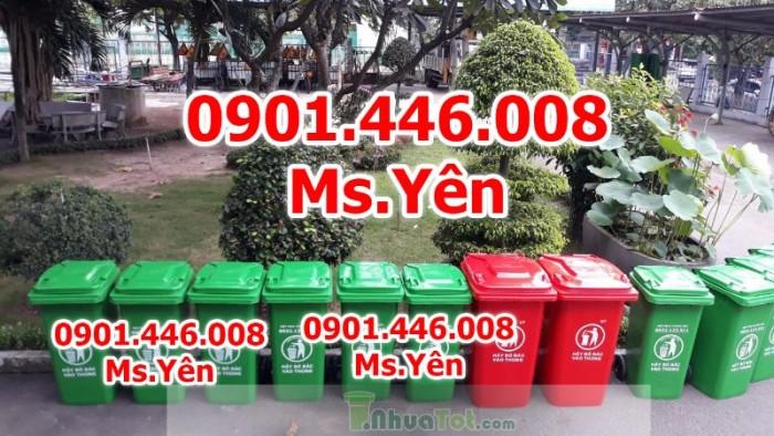 Thùng rác công cộng ngoài trời 120L, 240L nhựa HDPE giá rẻ nhất HCM0