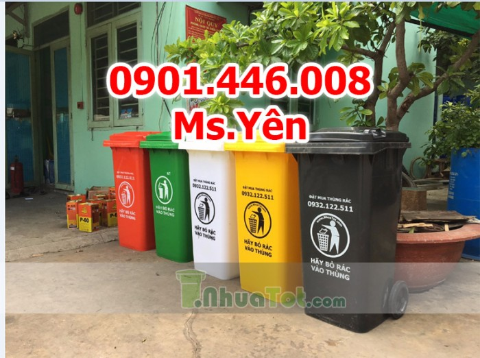 Thùng rác công cộng ngoài trời 120L, 240L nhựa HDPE giá rẻ nhất HCM6