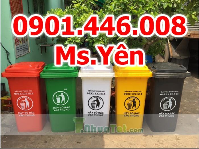 Thùng rác công cộng ngoài trời 120L, 240L nhựa HDPE giá rẻ nhất HCM2