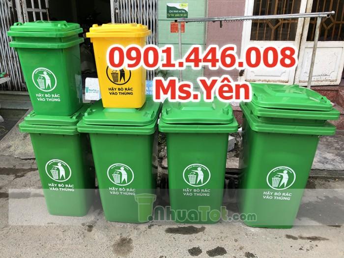 Thùng rác công cộng ngoài trời 120L, 240L nhựa HDPE giá rẻ nhất HCM5