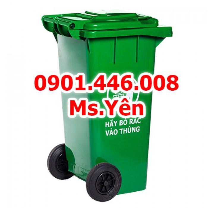 Thùng rác công cộng ngoài trời 120L, 240L nhựa HDPE giá rẻ nhất HCM7