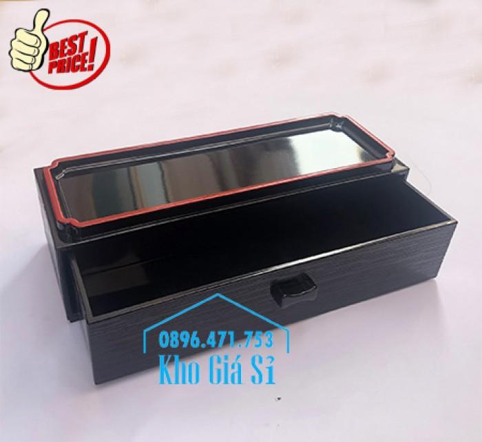 Bán hộp đựng đũa muỗng có nắp màu đen, Hộp đựng đũa muỗng màu đen có ngăn kéo Bình Dương1